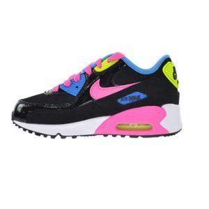 Nike Air Max '90 Leather Black Pink Pow Blue US 3Y